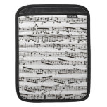 Black and white musical notes iPad sleeves