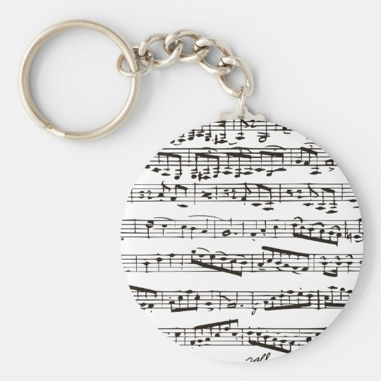 Black and white musical notes keychain