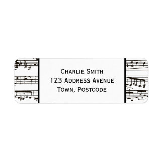 Black and white musical notes (Large text) Return Address Label