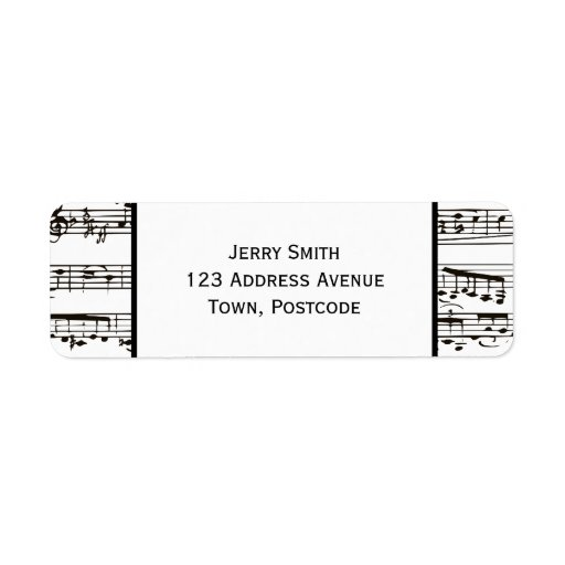 Black and white musical notes (Large text) Return Address Labels
