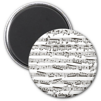 Black and white musical notes magnet