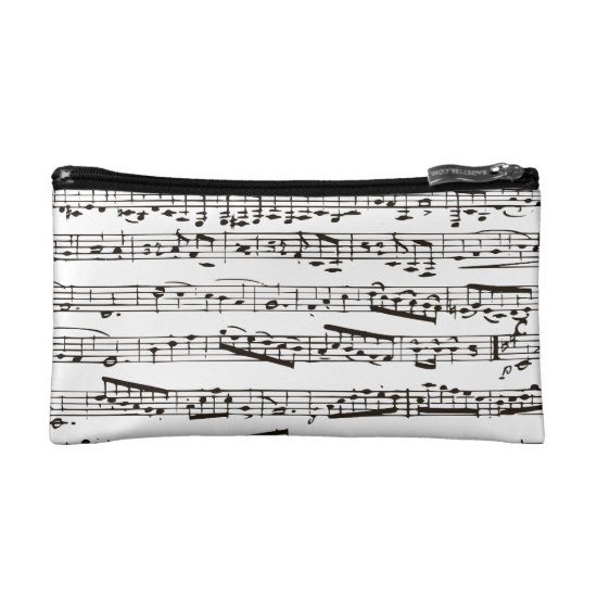 Black and white musical notes makeup bag