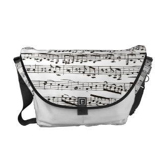 Black and white musical notes messenger bag