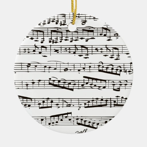 Black and white musical notes ornaments