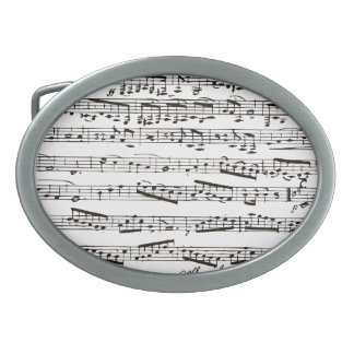 Black and white musical notes oval belt buckle