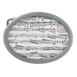 Black and white musical notes oval belt buckles