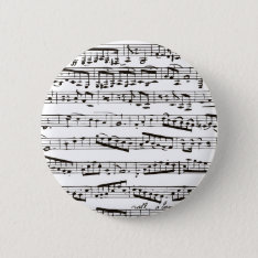 Black And White Musical Notes Pinback Button at Zazzle