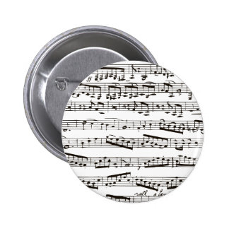 Black and white musical notes pinback button