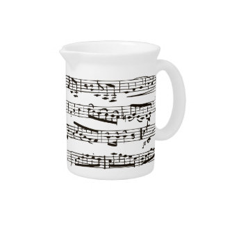 Black and white musical notes beverage pitcher