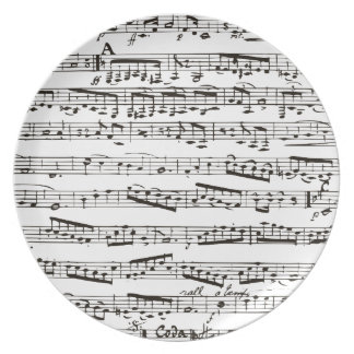 Black and white musical notes party plate