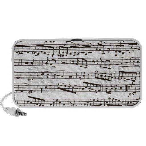 Black and white musical notes portable speaker