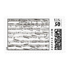Black and white musical notes postage