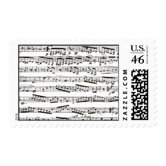 Black and white musical notes stamps