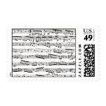 Black and white musical notes postage stamp