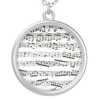 Black and white musical notes round pendant necklace
