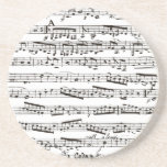 Black and white musical notes sandstone coaster