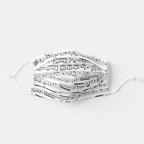 Black and White Musical Notes Sheet Music Adult Cloth Face Mask
