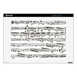 "Black and white musical notes 15"" laptop skin"
