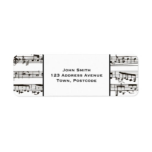 Black and white musical notes (small text) return address labels