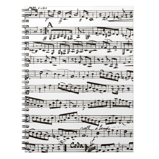 Black and white musical notes spiral notebook