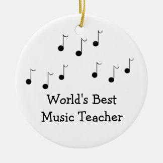 Black and White Musical Notes Teacher Ceramic Ornament