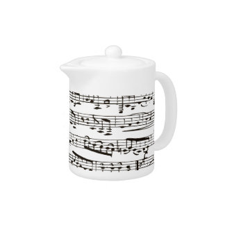Black and white musical notes teapot