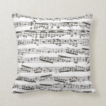 "Black and white musical notes throw pillow<br><div class=""desc"">black,  white,  music,  musical,  &quot;music notes&quot;,  &quot;Musical notes&quot;,  &quot;sheet music&quot;,  &quot;music note&quot;,  &quot;music notation&quot;,  sheet,  piano,  musician,  pianist,  vintage,  stylish,  elegant,  &quot;music fan&quot;,  &quot;music lover&quot;,  &quot;i love music&quot;,  &quot;love music&quot;,  song,  songs,  singer,  singing,  playing,  play,  cool,  chic,  artist,  &quot;music artist&quot;,  musicians</div>"