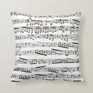 Black and white musical notes throw pillow
