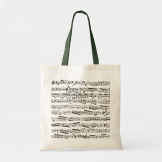 Black and white musical notes tote bag