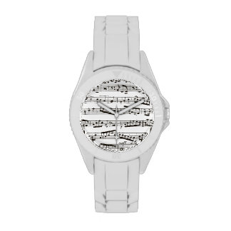 Black and white musical notes wristwatch