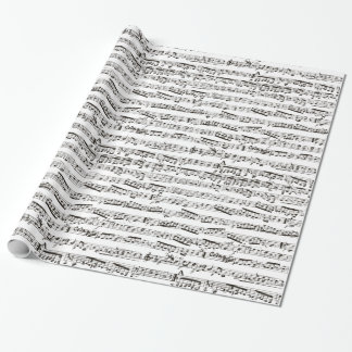 Black and white musical notes wrapping paper