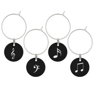 Black and White Musical Theme of Notes and Clefs Wine Charm