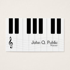 Black And White Musician Piano Business Card at Zazzle