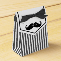 Black and White Mustache Groomsman Gift Box
