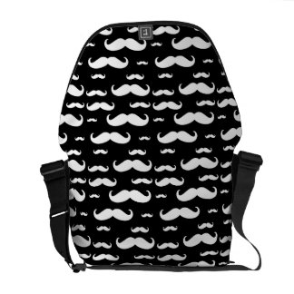 Black and White Mustache Pattern Messenger Bag