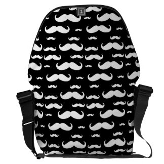 Black and White Mustache Pattern Messenger Bags