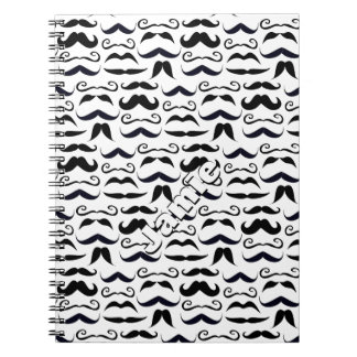 Black and White Mustache Pattern Notebook