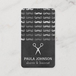 Black and White Mustaches Pattern Business Card