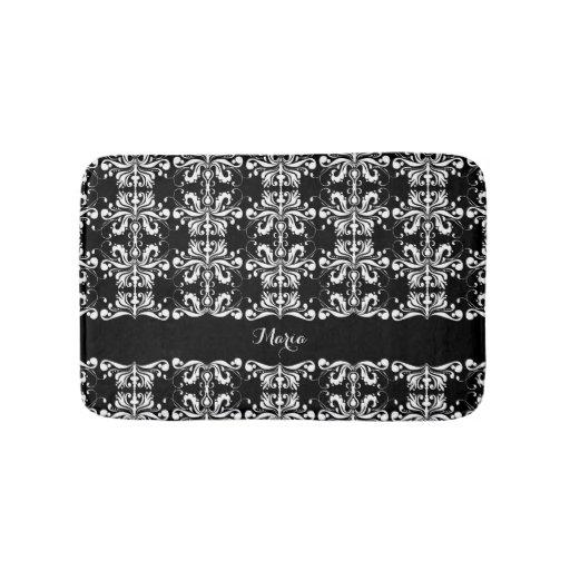 Black and white named damask bathroom mat zazzle for Black and white damask bath mat