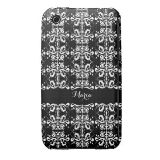 Black and White Named Damask Case-Mate iPhone 3 Case