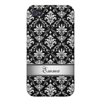 Black and White Named Damask iPhone 4/4S Cover