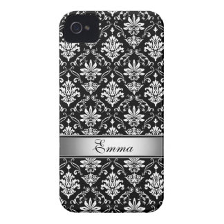 Black and White Named Damask iPhone 4 Case-Mate Case