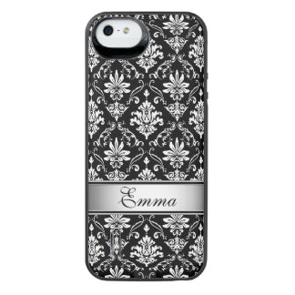Black and White Named Damask Uncommon Power Gallery™ iPhone 5 Battery Case