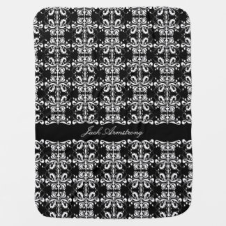 Black and White Named Damask Receiving Blanket