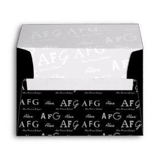 black and white names and initials . custom envelope