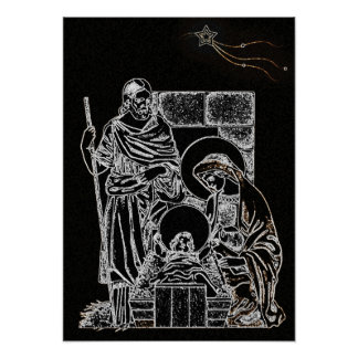 Black and White Nativity Poster