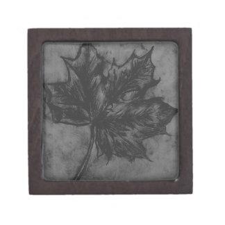 Black and white nature leaf etching print jewelry box