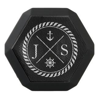 Black and White Nautical Anchor Monogram Black Bluetooth Speaker