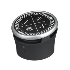 Black And White Nautical Anchor Monogram Bluetooth Speaker at Zazzle