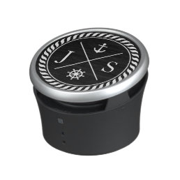 Black and White Nautical Anchor Monogram Bluetooth Speaker